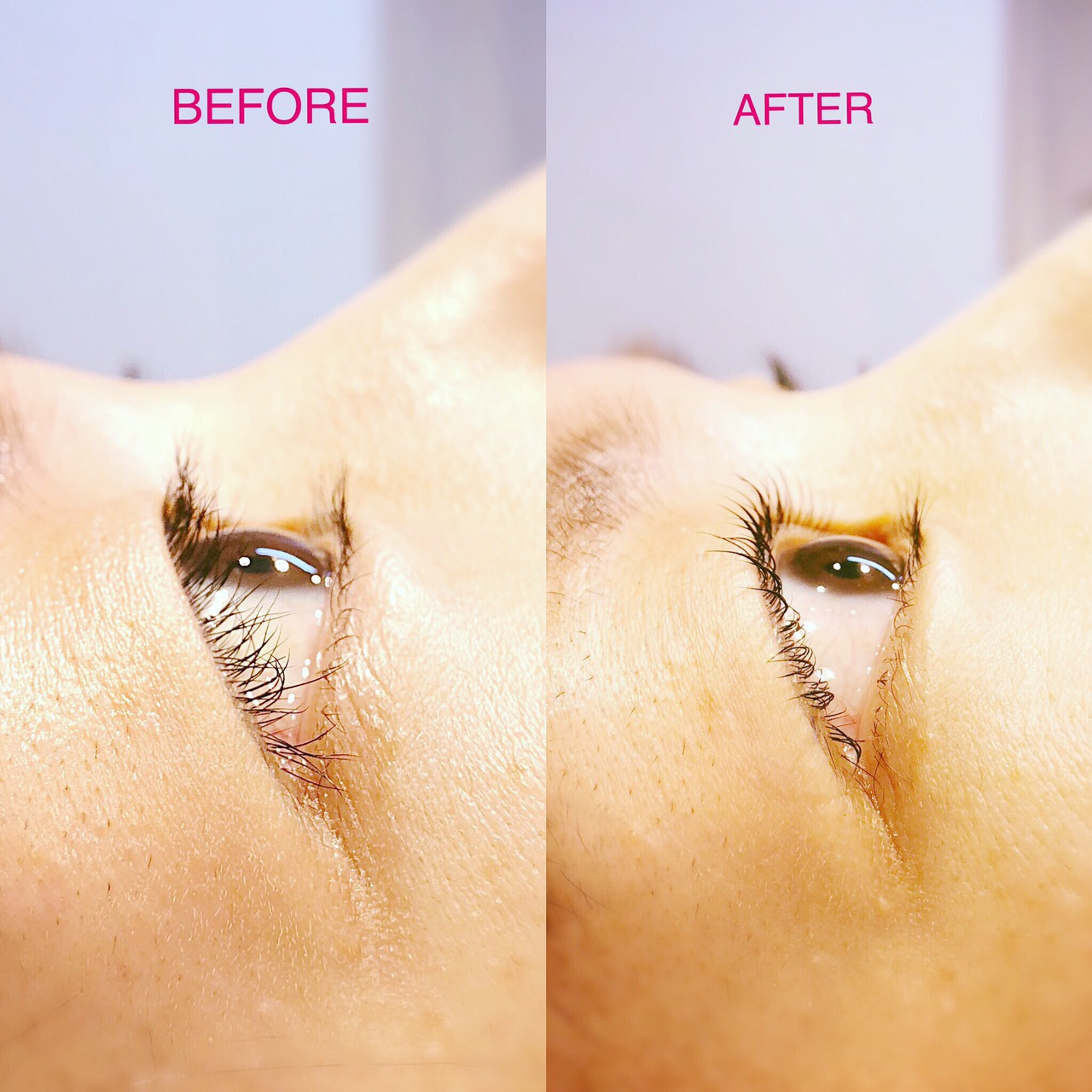 eyelash perm before and after